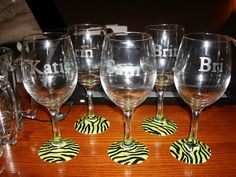 but I bought beer mugs and wine glasses from Dollar Tree awhile back to give to our bridal par. Diy Wine Glasses, Decorated Wine Glasses, Painted Wine Glasses, Diy Home Crafts, Fun Crafts, Decor Crafts, Beer Mugs, Coffee Mugs, Partys