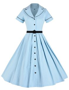 Fashion Buy Women's Classical Casual Swing A-Line Dress - Light Blue - and shop more latest Women's Dresses all over the world. - Color: Light Blue SKU: Gift-wrap: Available Vestidos Vintage, Vintage Dresses, Vintage Outfits, Vintage Fashion, Retro Fashion, Cheap Fashion, Trendy Fashion, 50s Vintage, Trendy Style