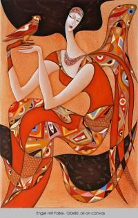 Wlad Safronow - From his Secession series of Paintings: title for this is 'Angel with Falcon' (oil on canvas) size: 120 x 80 ✿≻⊰❤⊱≺✿