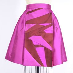 Pink Silk Dupioni Pleated Skirt with Patchwork Panel