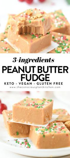 Dec 17, 2020 - This healthy peanut butter fudge with coconut oil is an easy 3-ingredient fudge recipe for Christmas ready in 20 minutes. Vegan, with a keto option. Healthy Fudge, Healthy Vegan Desserts, Raw Desserts, Vegan Treats, Healthy Candy, Healthy Food, Fudge Recipes, Dessert Recipes, Candy Recipes