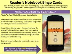 """My students REALLY liked the """"Fake Field Trip"""" writing activity, which allows them to explore a setting from their book in a unique way.  This is just one of 25 writing tasks available to students using our """"Reader's Notebook Bingo"""" cards.  Click on the yellow slide to learn more about ordering these slides.  Use this link to see a student sample of this writing task: http://www.pinterest.com/pin/450852612668853223/"""