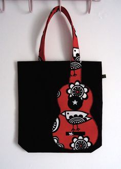 Black and red ukulele appliqué tote bag with bird print