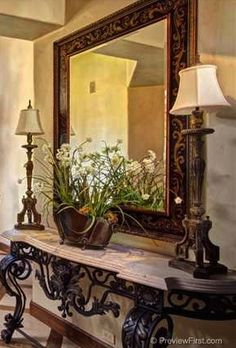 Console table, large mirror, two lamps... perfect for hall / entryway