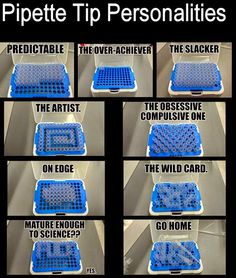 Medical Laboratory and Biomedical Science: Pipette Tip Personalities. I don't know why I find this funny but I do Laboratory Humor, Medical Laboratory Science, Biomedical Science, Forensic Science, Lab Humor, Work Humor, Humor Humour, Medizinisches Labor, Science Memes