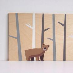 Large Hand Painted Woodland Bear, Woodland Nursery, Children's Art, Nursery Art, Kids Wall Art, Nursery Decor, Bear Art, Woodland Critter on Etsy, $70.00