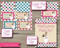 Pink Puppy Birthday Party Package 10 Items Pink by HarkenStudio, $20.00