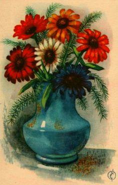 Gratulasjonskort med blomster Erling Nielsen 1940-tallet Norsk arbeide