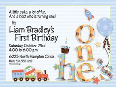 He's One First Birthday Party Invitation #hesone #firstbirthday #party #train #invites #tickledpink