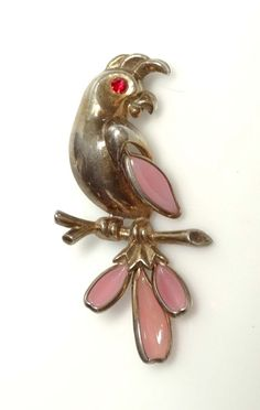 Vintage 1950 Alfred Philippe Trifari Pink Poured Glass Parrot/Bird Brooch/Pin #Trifari