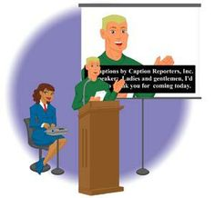 "Drawing of man speaking, live captioner sitting behind him, and screen showing all he is saying = Live Captioning (speech-to-text). ""Don't Leave Me Out!"" Find the CCAC film on another Pin here, enjoy :-)."