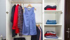 wardrobe with clothing Photos open wardrobe with red and blue clothing by Neirfy Color Coordinated Closet, Bedroom Closet Doors, Closet Hangers, Closet Colors, Open Wardrobe, Lifestyle Articles, Personal Organizer, Closet Space, Closet Organization