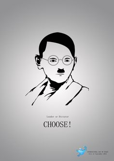 World Peace Day: Gandhi / Hitler - Interesting mix! Dalai Lama, World Peace Day, Slaughterhouse Five, Graffiti, Great Ads, Creative Advertising, Advertising Agency, Illustration Sketches, Creative Thinking