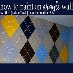 Tutorial for painting an argyle wall with almost no math! {blue i style}