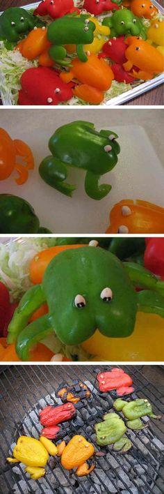 se faire des grenouilles originaux en poivron vert, orange et rouge