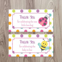 Printable Favor Tags or Stickers for Bug Baby Shower. Bug by ElvaM