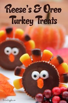 "Reese's & Oreo Turkey Treats - It's a blast creating these little guys for a super cute Thanksgiving treat. Your family and friends are sure to ""gobble"" them right up! Disclaimer: No ""miniature"" chocolate candies were used in the making of these treats. Fall Treats, Thanksgiving Desserts, Holiday Treats, Halloween Treats, Holiday Recipes, Kids Thanksgiving, Thanksgiving Activities, Thanksgiving Quotes, Holiday Desserts"