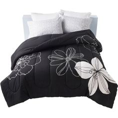 black and white twin comforter clearance | Get It Together Black and White Floral Bedding Comforter ? Walmart.com