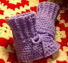 """Ravelry: """"Arianna"""" Baby Cuffed Booties (US and UK Versions) pattern by ag handmades.....free ravelry download"""