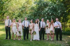 Bridal Party | Rustic wedding | mismatched dresses | suspenders | Rudolph, WI
