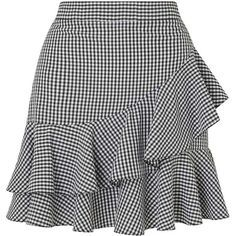 Miss Selfridge Black Gingham Ruffle Mini Skirt ($55) ❤ liked on Polyvore featuring skirts, mini skirts, black, short mini skirts, miss selfridge, ruffled skirts, frilly skirt and flouncy skirt