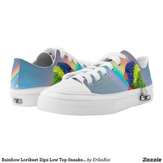 Rainbow Lorikeet Zipz Low Top Sneakers, Printed Shoes