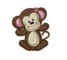 Baby Girl Monkey Applique Machine Embroidery Design-INSTANT DOWNLOAD