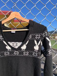Playboy Holiday Sweater Labeled a size Medium, but fits like a Small Holiday Sweaters, Playboy, Fitness, Etsy, Fashion, Moda, Fashion Styles, Fashion Illustrations