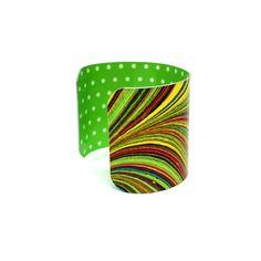 Green Cuff Bracelet  Marbled Paper Bracelet  Bold by JDzigner