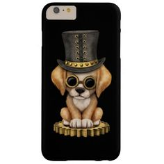 Cute Steampunk Golden Retriever Puppy Dog, black Barely There iPhone 6 Plus Case #zazzle