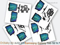 Nové držiaky do auta pre Samsung Galaxy Tab S2 9.7 810. Pasívny držiak Brodit pre pevnú montáž v aute, aktívny s CL nabíjačkou, S USB alebo s Molex konektorom.