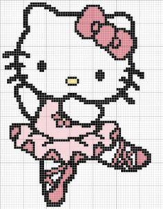Free Ballet Hello Kitty Cross Stitch Chart or Hama Perler Bead Pattern
