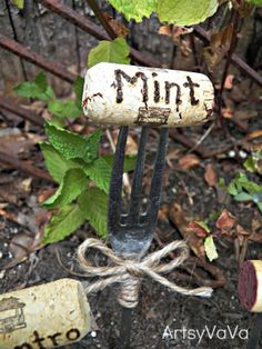 Artsy VaVa: Fork & Cork Plant Markers   a way to use old wine corks :)