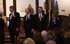 The groomsmen (brothers and nephew of the groom) look on during the ceremony at St. Marks in Berkeley  http://poppyandjune.com/2015/08/10/real-wedding-jack-pearl/