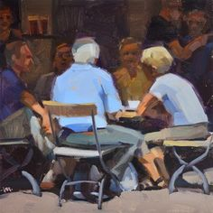 "Daily Paintworks - ""Lunch in Germany"" - Original Fine Art for Sale - © Carol Marine"