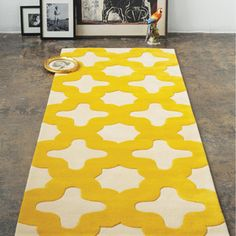 Love this yellow rug!  I don't know where I would put it, but I love it.  By Bev Hisey.