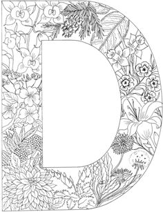 letter d with plants coloring page from english alphabet with plants category select from 24659