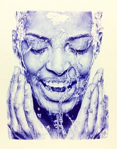 An incredible ballpoint pen drawing of a woman washing her face #art #drawing #pen #penart #ballpoint #ballpointpen