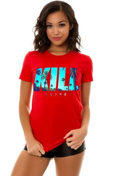 Kill Brand The Tropical Swag Logo Tee in Red - Karmaloop.com