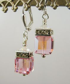 New Swarovski Light Rose Crystal Rhinestone Squaredelle Earrings accented with Swarovski Clear Bicone Bead Crystals