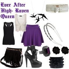 """Ever After High Raven Queen Look"" by crdbaby on Polyvore"