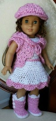 "American Girl 18"" Doll Clothes Crocheted Dress Boots Set Outfit, No Pattern"