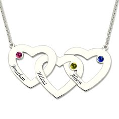 We have found the perfect gift for moms everywhere, the Intertwined Hearts Necklace with Birthstones!Now you can engrave up to three hearts, as well as choose a birthstone for each heart. Moms can keep their kids close no matter how far they are. Even if you are not a mom, you will still love this necklace! Inscribe the things that make you think about love!