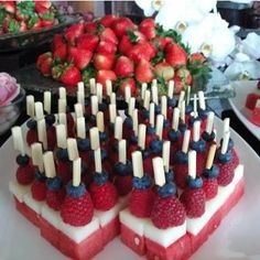 Fourth of July Watermelon, Strawberries, and Blueberries http://pinterest.com/pin/16395986116808583/