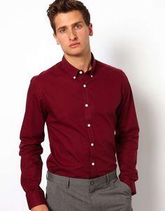 Valerio Garati Men's Button Down Shirt Fitted Size S Burgundy Red ...