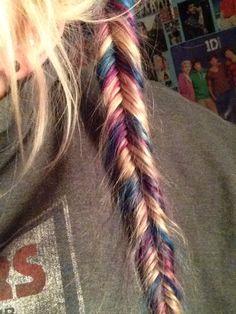 Blue/purple/blonde #fishtail