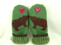 Wool Mittens with Bears