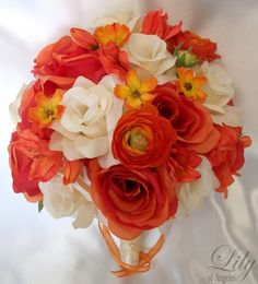 "17 Pieces Package Silk Flower Wedding Decoration Bridal Bouquet ORANGE IVORY ""Lily Of Angeles"""