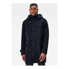 G-Star Wool Duffle Coat ($440) ❤ liked on Polyvore featuring men's fashion, men's clothing, men's outerwear, men's coats, mens wool duffle coat, mens hooded duffle coat, mens blue trench coat, mens wool outerwear and mens hooded coats