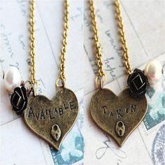 Reversible Taken / Available Heart Charm Necklace by outoftheblue, $18.00